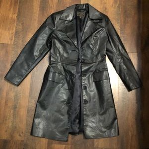 Express black lined fitted trench coat